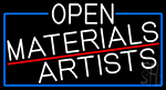 White Open Materials Artists With Blue Border Neon Sign