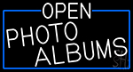 White Open Photo Albums With Blue Border Neon Sign
