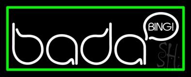 Bada Bing Strip Club With Green Border Neon Sign