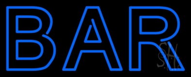 Double Stroke Blue Bar Neon Sign