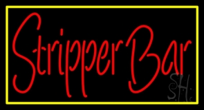 Stripper Bar With Yellow Border Neon Sign