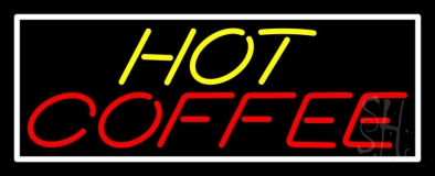 Yellow Hot Red Coffee With White Border Neon Sign