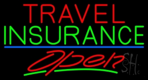 Travel Insurance Open With Blue Line Neon Sign