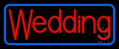 Blue Border Wedding Neon Sign