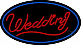 Oval Wedding Cursive Neon Sign
