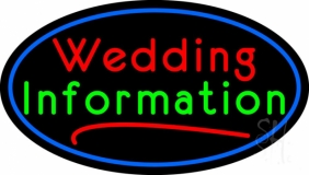 Oval Wedding Information Neon Sign