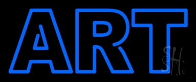 Blue Double Stroke Art Neon Sign