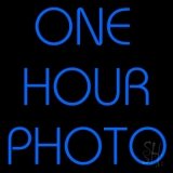 Blue One Hour Photo Neon Sign