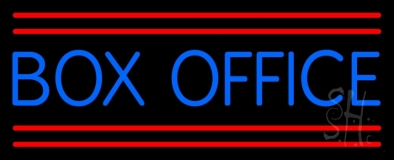 Blue Box Office Red Double Lines Neon Sign