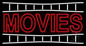 Double Stroke Movies Block Neon Sign