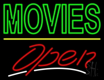 Double Stroke Movies Open Neon Sign