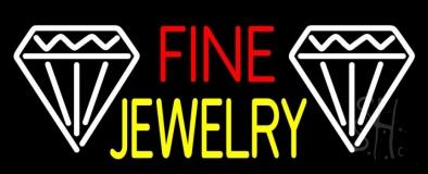 Fine Jewelry Block With White Diamond Neon Sign