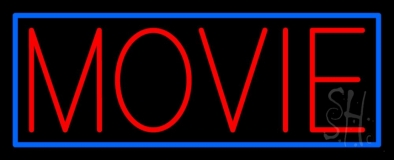 Red Movies Blue Border Neon Sign