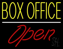 Yellow Box Office Open Neon Sign