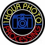 Yellow One Hour Photo Processing Neon Sign