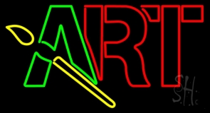 Block Art With Brush Logo Neon Sign