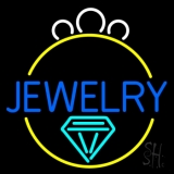 Blue Jewelry Center Ring Logo Neon Sign