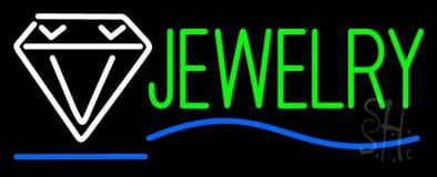 Jewelry Block Diamond Logo Blue Line Neon Sign