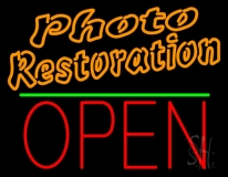 Orange Photo Restoration With Open 1 Neon Sign