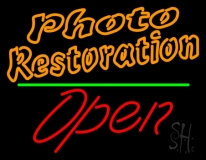 Orange Photo Restoration With Open 2 Neon Sign