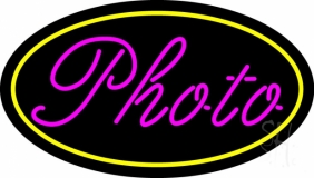 Pink Cursive Photo With Oval Neon Sign