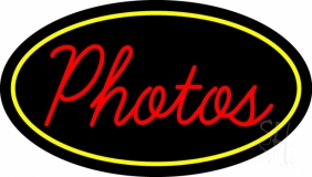 Red Cursive Photos With Oval Neon Sign