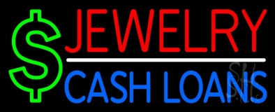 Red Jewelry Blue Cash Loans Neon Sign