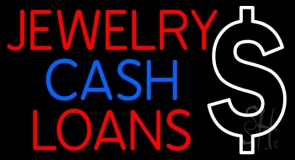 Red Jewelry Cash Loans Neon Sign