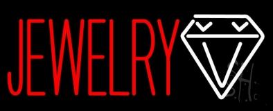 Red Jewlery Block Diamond Logo Neon Sign