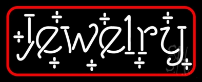 White Jewelry Red Border Neon Sign
