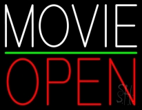 White Movie Open Neon Sign
