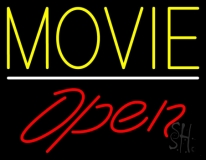 Yellow Movie Open Neon Sign