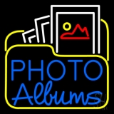 Gallery Icon With Blue Photo Album Neon Sign