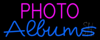 Pink Photo Blue Albums Neon Sign