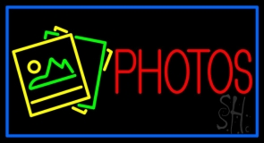 Red Photos With Logo Border Neon Sign