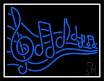 Blue Music Notes Neon Sign