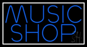 Blue Music Shop Block Neon Sign