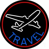 Blue Travel With Red Border Neon Sign