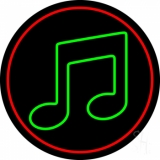 Green Music Red Border Neon Sign