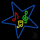 Musical Notes In Star Neon Sign