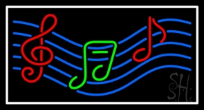 Musical Notes With Border Neon Sign