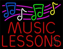Music Lessons With Logo Neon Sign
