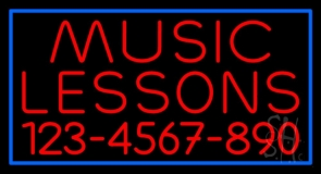 Music Lessons With Phone Number Neon Sign