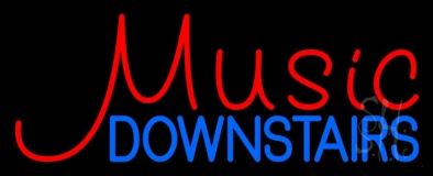 Music Red Downstairs Blue 2 Neon Sign