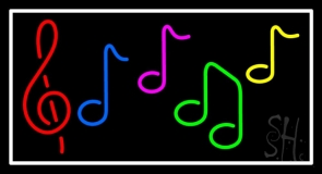 Notes Music White Border 1 Neon Sign