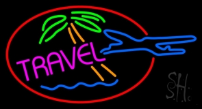 Pink Travel With Red Border Neon Sign