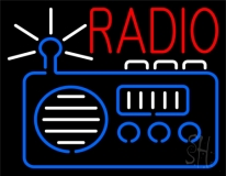 Radio Logo And Red Radio Music 3 Neon Sign