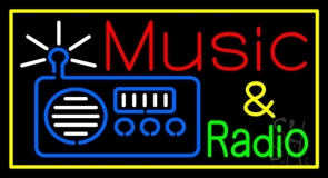 Radio Music Yellow Border 1 Neon Sign