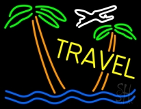 Travel Yellow Neon Sign