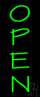 Vertical Green Open Neon Sign